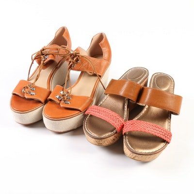 Lands' End Della Mid Slides and Laced Wedge Sandals