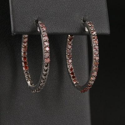 Sterling Silver 1.60 CTW Diamond Inside Out Hoop Earrings