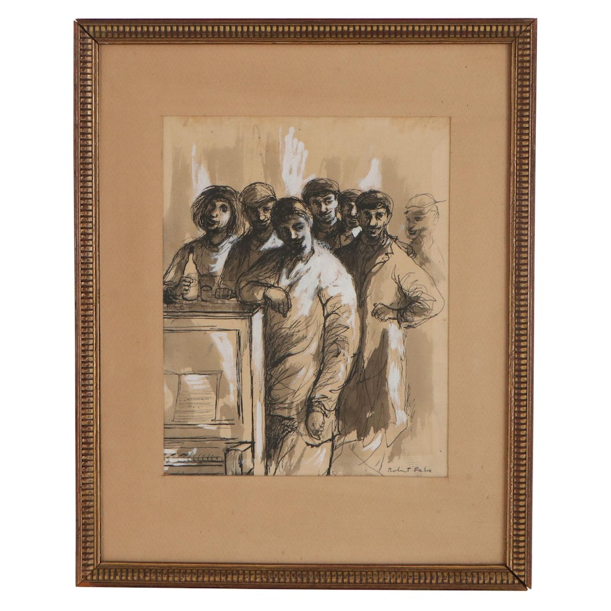 """Robert Fabe Ink and Watercolor Drawing """"The Old Bunch"""""""