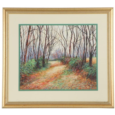 "Sue Coleman Pastel Landscape ""Timber and Grassy Lane, Nov,"" 1995"