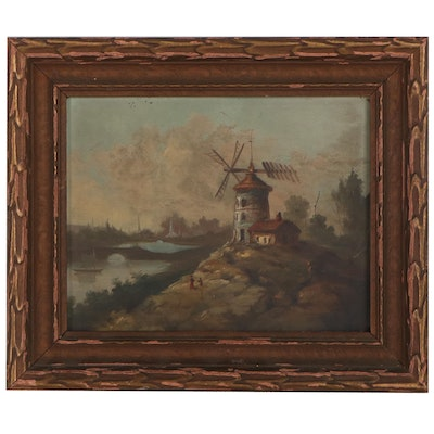 Landscape Oil Painting of a Windmill With Figures