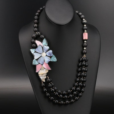Mother of Pearl and Wood Bead Necklace with Flower Inlay