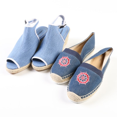 Lands' End Wedge Sandals in Bayshore Blue and Nautical Flats in Chambray