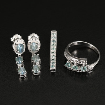 Sterling Silver Jewelry Featuring Cat's Eye Alexandrite and Zircon