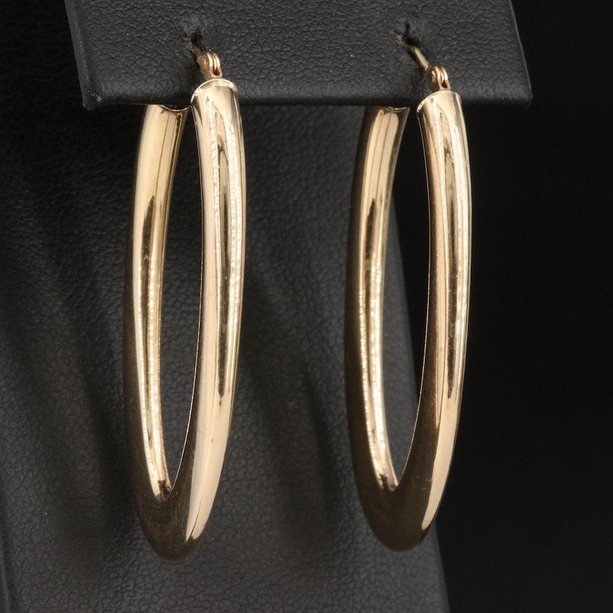 Italian Milor 14K Oval Hoop Earrings