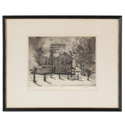 """W.H. Rawls Etching With Aquatint """"Christmas Seventy-One,"""" Late 20th Century"""