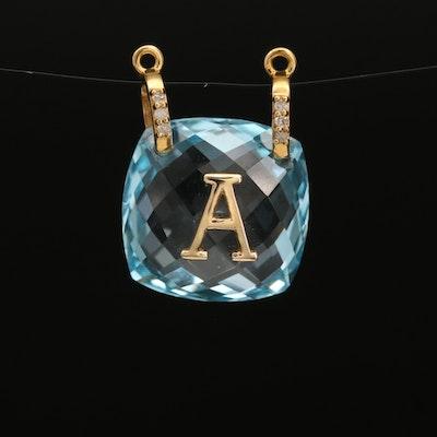 "14K Topaz and Diamond Monogram ""A Pendant"