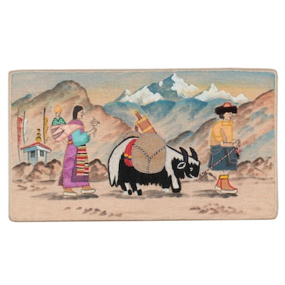 Folk Art Mixed Media Composition of Himalayan Pilgrimage, Mid-Late 20th Century