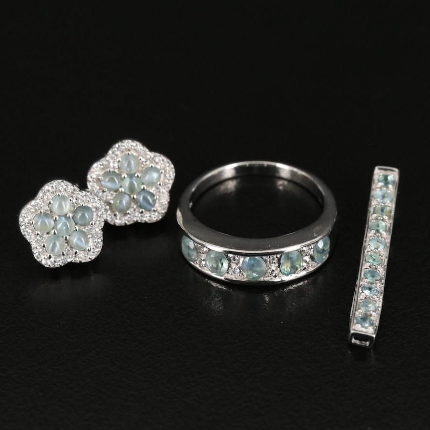 Sterling Cat's Eye Alexandrite and Zircon Jewelry
