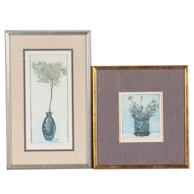 Joanne Isaac Hand-Color Etchings of Potted Plants, Circa 1977