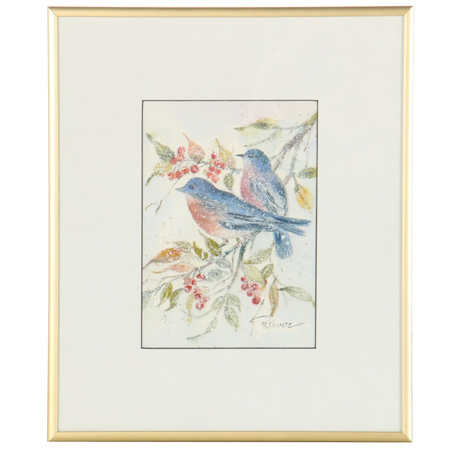 Mildred W. Printz Watercolor and Gouache Painting of Eastern Bluebirds