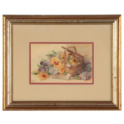 Embellished Offset Lithograph Still Life of Flowers