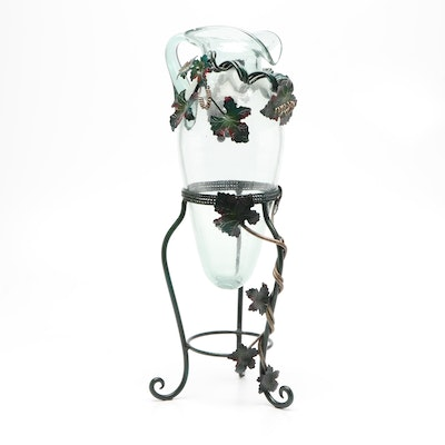 Oversized Glass Pitcher with Metal Vine Appliqué and Metal Stand