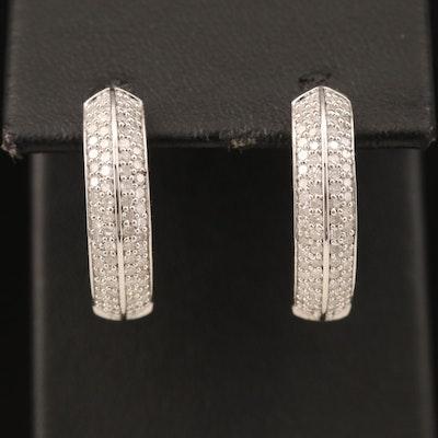 Sterling Diamond Hoop Earrings