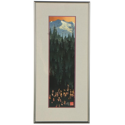 Lithograph After Byron Birdsall of Evergreens and Mountains, Late 20th Century
