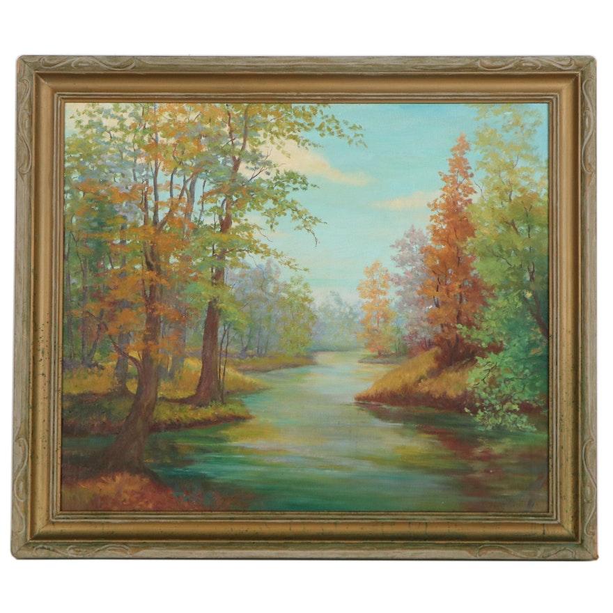 Florence Hill Autumn Landscape Oil Painting