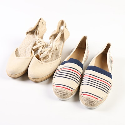 Lands' End Cara Espadrille Wedges in Linen and Flat Espadrilles in Ivory Striped