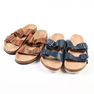 Lands' End Leather Slide Sandals in Dark Redwood and Deep Sea Navy