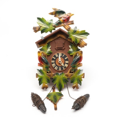 German Black Forest Hand-Painted Cuckoo Clock