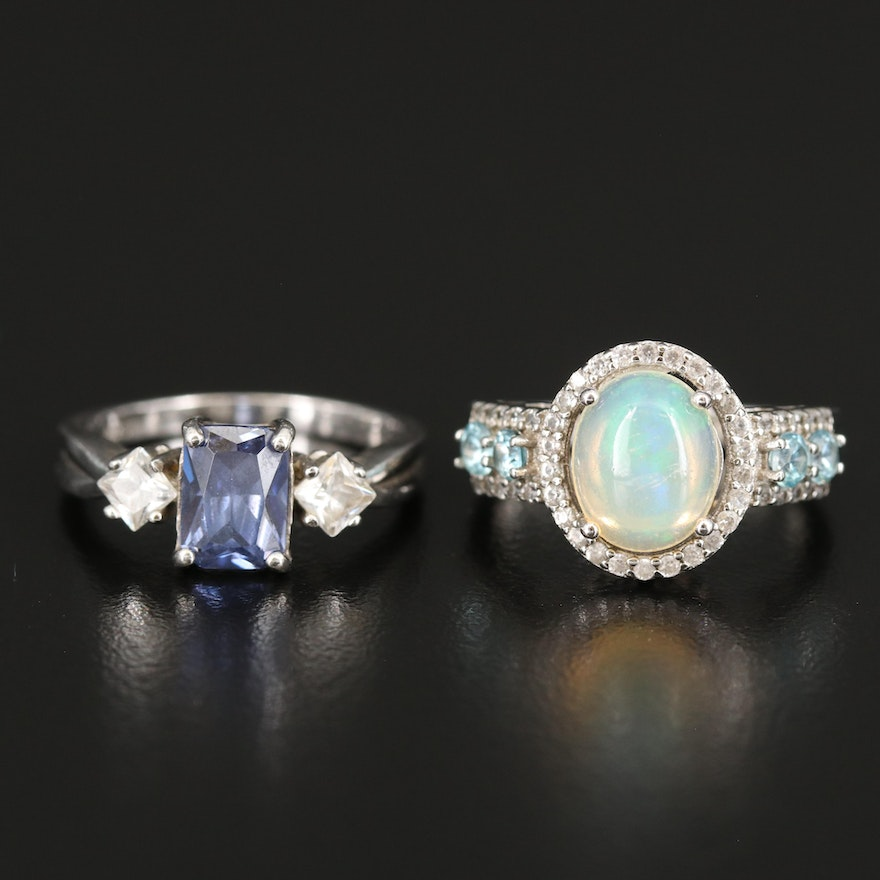 Sterling Opal, Cubic Zirconia and Zircon Rings