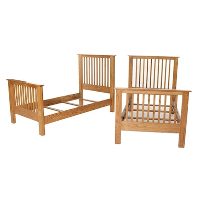 Pair of Arts and Crafts Style Oak Twin Size Bed Frames