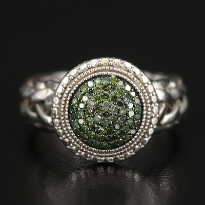 Sterling Diamond Cluster Ring with Woven Detail