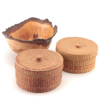 Live Edge Burled Wood Artisan-Turned Bowl and Woven Grass Baskets