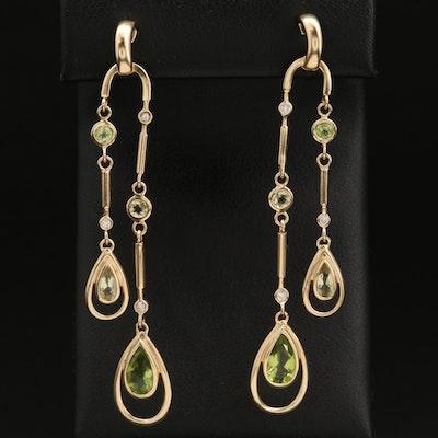 14K Peridot and Diamond Negligée Style Earrings