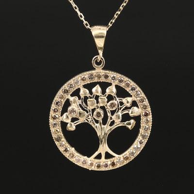 14K Diamond Tree of Life Necklace