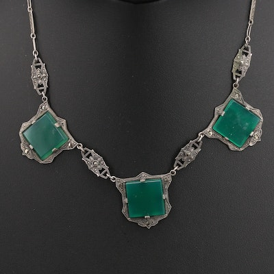 Art Deco Sterling Chalcedony and Marcasite Necklace with Filigree