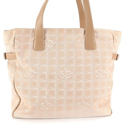 Chanel Travel Line Tote in Beige CC Nylon Jacquard and Smooth Leather Trim