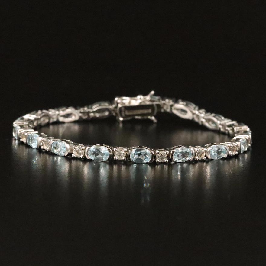 Sterling White and Sky Blue Topaz Line Bracelet