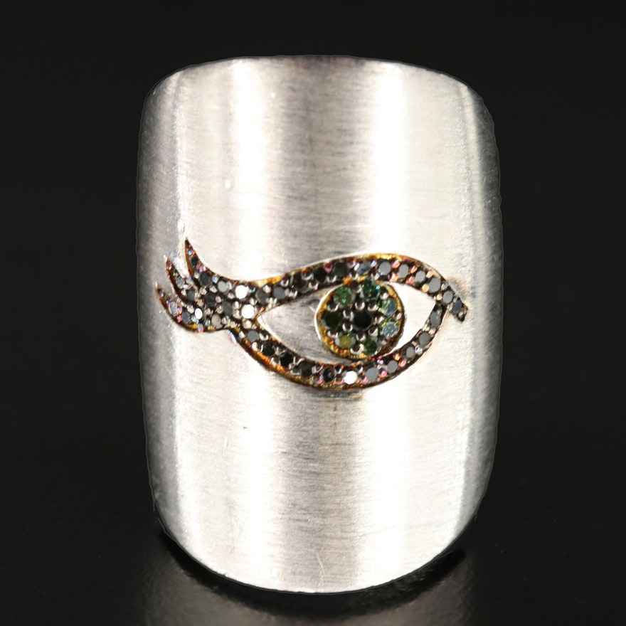 Sterling Silver Diamond Eye Ring with Brushed Finish