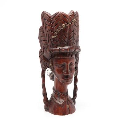F. Martel Carved Wood Embellished Bust