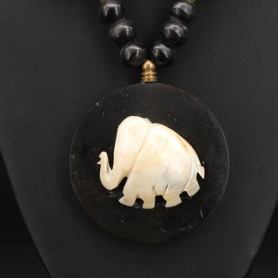 Mother of Pearl and Horn Elephant Pendant Necklace