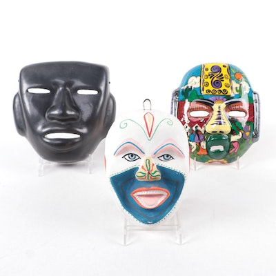 Mexican Folk Art, Olmec Inspired, and Other Ceramic Face Masks