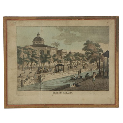 "Hand-Colored Engraving ""Stadan Batavia,"" Mid to Late 18th Century"
