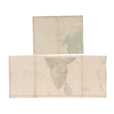 """Thomas Jefferys Map Engraving """"The East Indies with the Roads,"""" 1768"""
