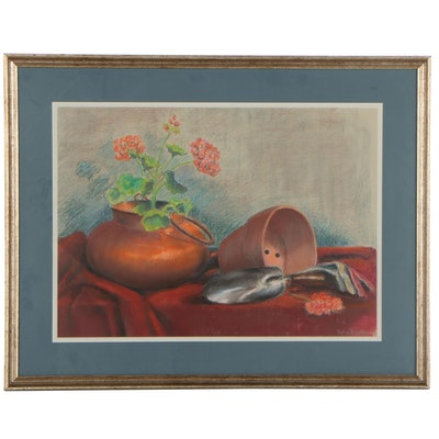Sylvia Weinberg Still Life Pastel Drawing of Flowers and Clay Pot
