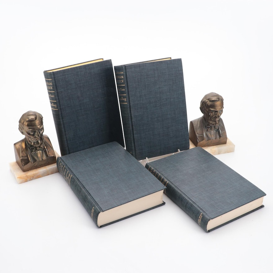 """""""Abraham Lincoln: The War Years"""" Four-Volume Set by Carl Sandburg with Bookends"""