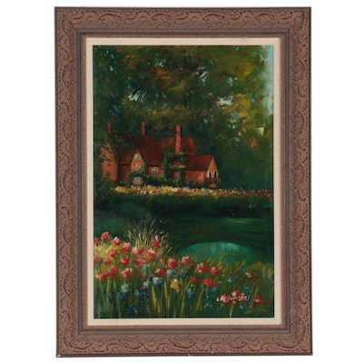 Lily Langtrey Landscape Oil Painting of House with Garden, Late 20th Century