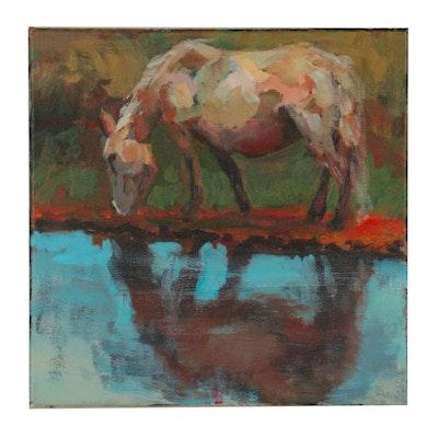 Elle Raines Acrylic Painting of Grazing Horse, 21st Century