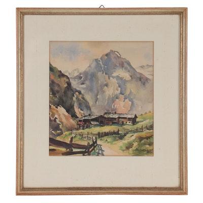 Mountain Landscape Watercolor Painting, 1947