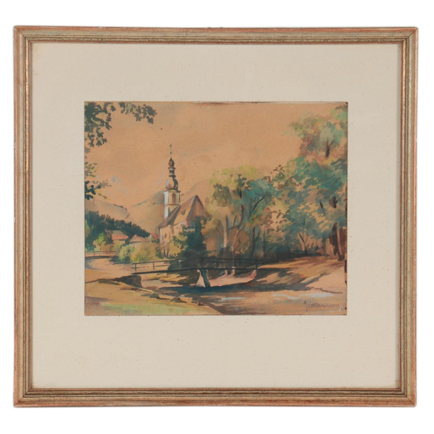 Landscape Watercolor Painting With Church, Early 20th Century