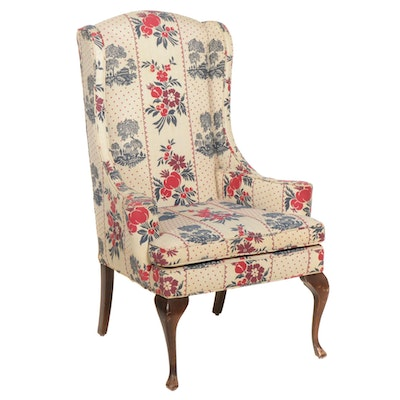 Petite Queen Anne Style Wingback Armchair, Late 20th Century