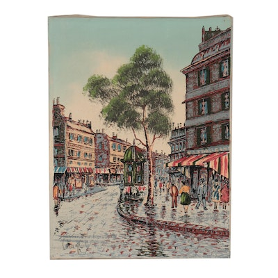 Hand-Embellished Serigraph of Parisian Street View, Late 20th Century