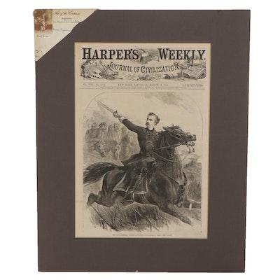 "Wood Engraving ""Brigadier-General George A. Custer"" from ""Harper's Weekly,"" 1864"