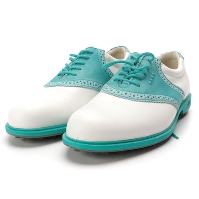 Ecco Oxford Style Golf Shoes in White and Blue Leather