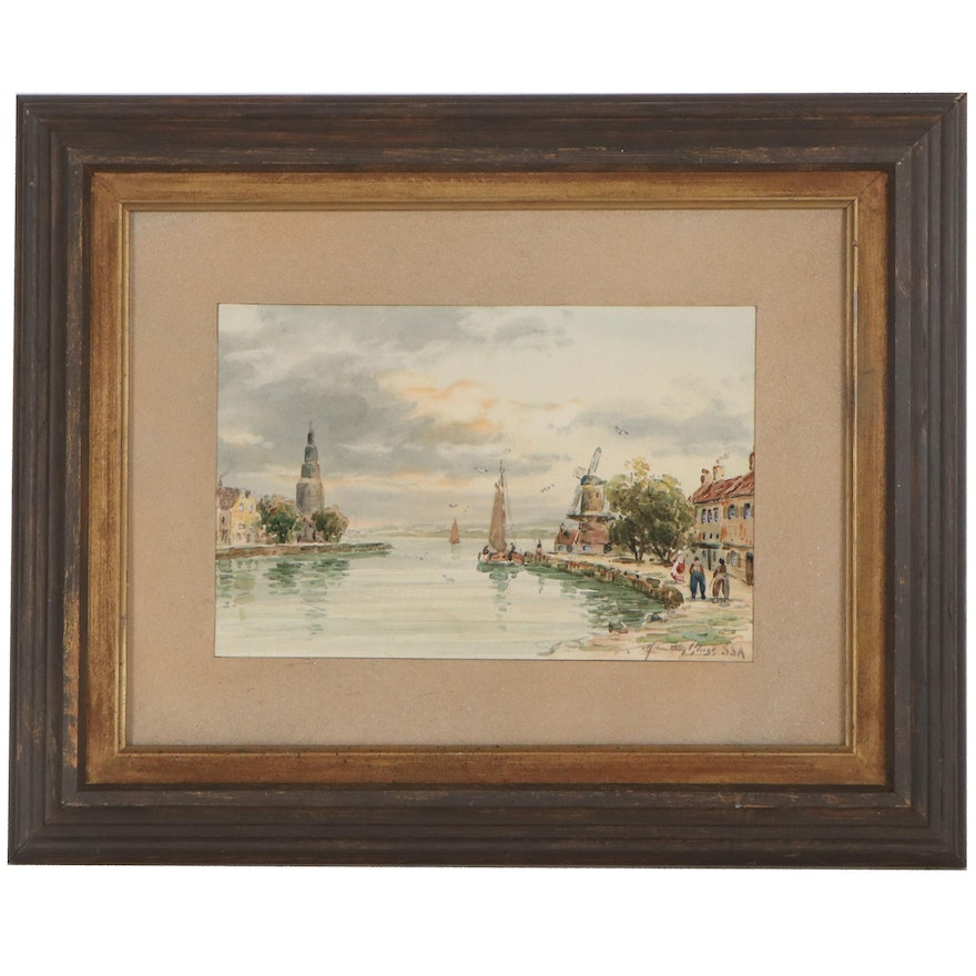 """Watercolor Oil Painting """"Port on the Jaas,"""" Early 20th Century"""