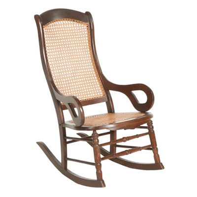 Wooden Rocking Chair with Cane Seating, Mid-20th Century